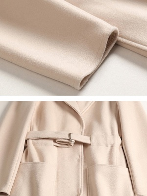 Apricot Work Wool Shift Pockets Lapel Buttoned Coat_6