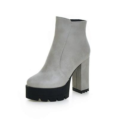 Chunky Heel Daily Zipper Round Toe Boots_12