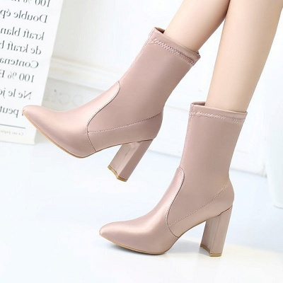 Daily Chunky Heel Zipper Pointed Toe PU Boots_1