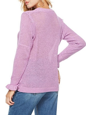 Pink Shift Frill Sleeve Casual Crew Neck Solid Sweater_3