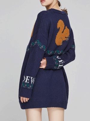 Dark blue Crew Neck Long Sleeve Casual Sweater_3