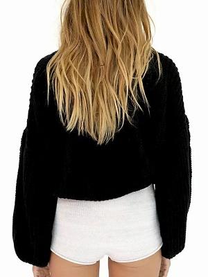 Plain Casual Balloon Sleeve Sweater_8