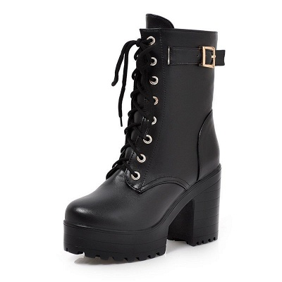 Lace-up PU Chunky Heel Round Toe Boots_8