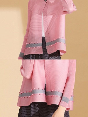 Pink Buttoned Color-block Pleated Beaded Coat_6