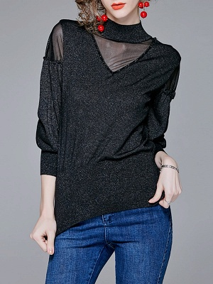 Long Sleeve Shift Stand Collar Casual Paneled Sweater_2