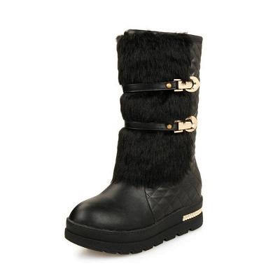 Women's Boots Black Wedge Heel Round Toe Buckle Boots_2