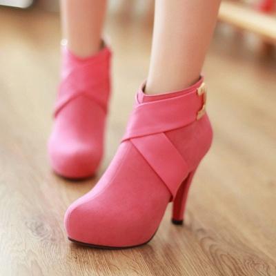 Stiletto Heel Zipper Suede Lace-up Cone Heel Round Toe Boots_8