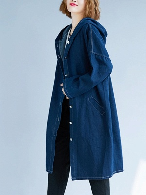 Blue Buttoned Casual Denim Solid Coat_4