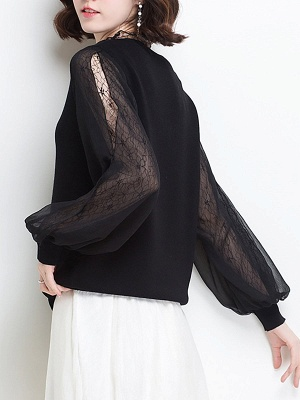 Shift Balloon Sleeve Guipure lace Casual Sweater_4