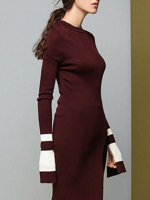 Casual Crew Neck Wool Sheath Long Sleeve Sweater_7