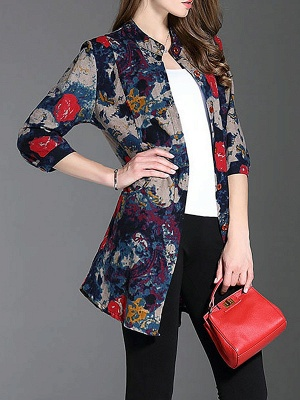 Long Sleeve Casual Stand Collar Shift Floral Coat_4