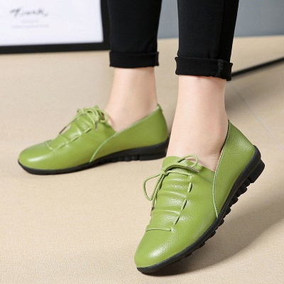 Casual Round Toe Lace-up Flat Heel Loafers_4