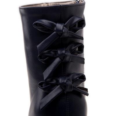 Daily Chunky Heel Zipper Tie Round Toe Elegant Boots_14