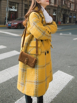 Yellow Lapel Long Sleeve H-line Buttoned Checkered/Plaid Casual Pockets Coat_5