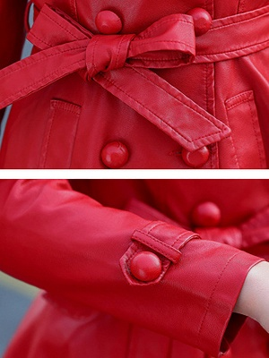 Buttoned Pockets Lapel A-line Paneled Coat_8