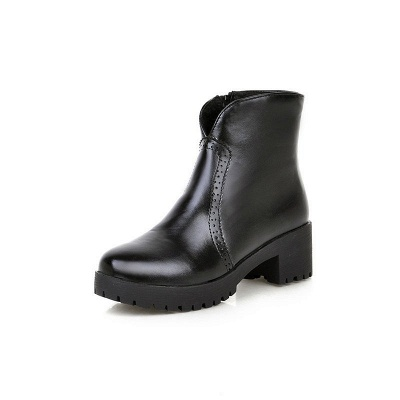 Fall PU Chunky Heel Round Toe Boot_11