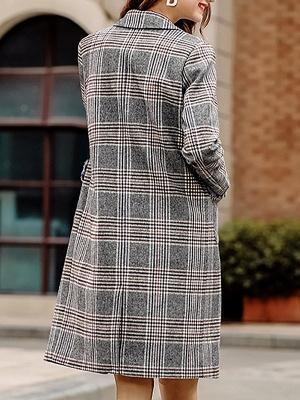 Gray Checkered/Plaid Long Sleeve Pockets Coat_3