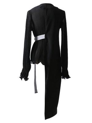 Frill Sleeve Casual Asymmetrical V neck Ruffled Folds Coats_6