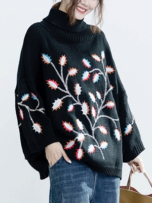 Black Casual Shift Embroidered Sweater_7