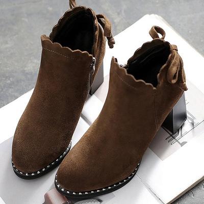 Suede Bowknot Zipper Boots_1