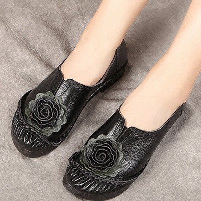 Flower Round Toe Casual Leather Loafers_6