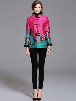 Paneled Crinkled Fluffy Buttoned  Printed Coat_6