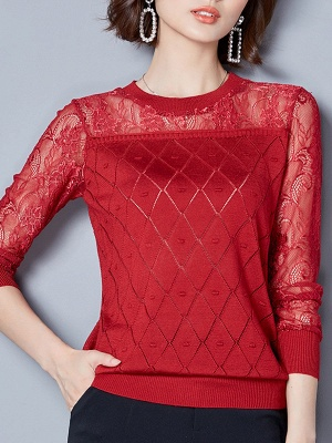 Shift Casual Long Sleeve Geometric Sweater_1