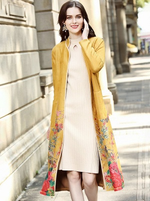 Long Sleeve Stand Collar Floral Printed Pockets Coat_2