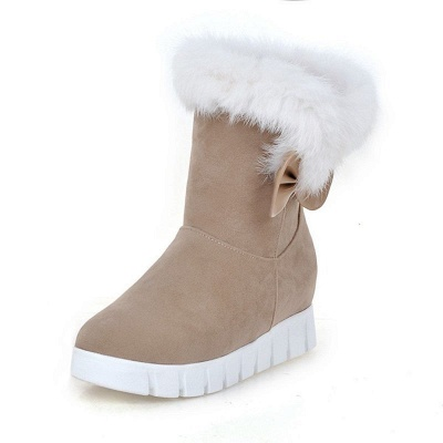 Wedge Heel Suede Fur Round Toe Bowknot Boots_9