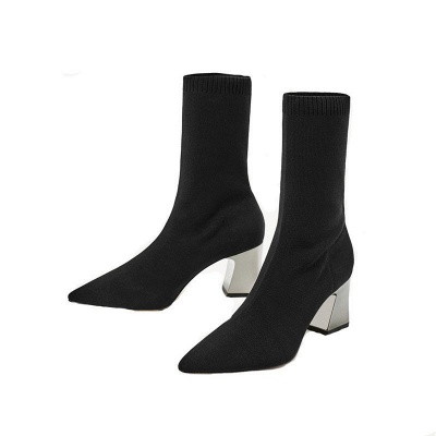 Black Chunky Heel Daily Pointed Toe Boots_1