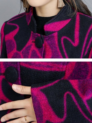 Rose Shift Casual Long Sleeve Printed Stand Collar Coat_5