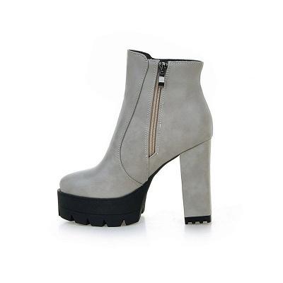 Chunky Heel Daily Zipper Round Toe Boots_13