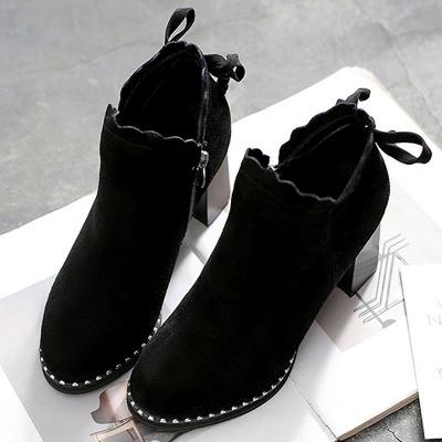 Suede Bowknot Zipper Boots_2