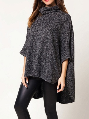 Batwing Cotton Shift Solid Casual Sweater_2