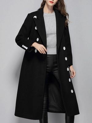 Black Buttoned Lapel High Low Slit Coat_4