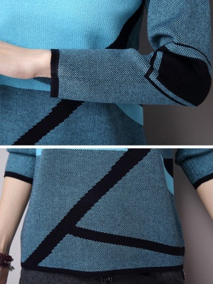 Casual Knitted Long Sleeve Sweater_6