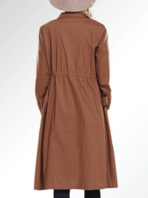 Solid Casual Long Sleeve Coat_4