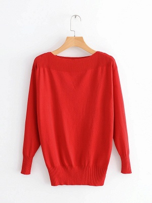 Casual Shift Long Sleeve Crew Neck Paneled Sweater_1