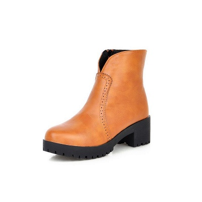 Fall PU Chunky Heel Round Toe Boot_10