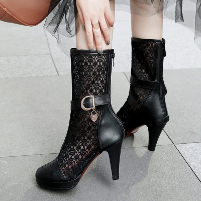Buckle Hollow-out Zipper Round Toe Boots_5