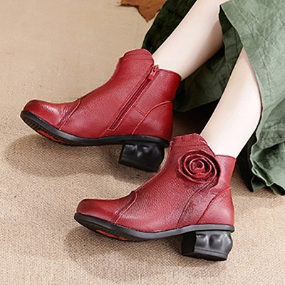 Daily Flower Round Toe Zipper Chunky Heel Boots_4