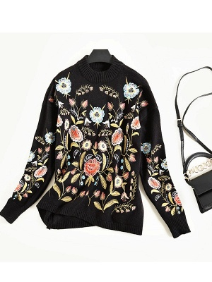 Black Shift Embroidered Crew Neck Long Sleeve Sweater_6