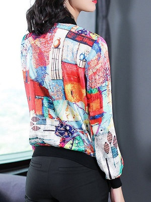 White Long Sleeve Casual Printed Abstract Crew Neck Coat_3