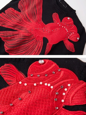 Black-Red Beaded Casual Sweater_5