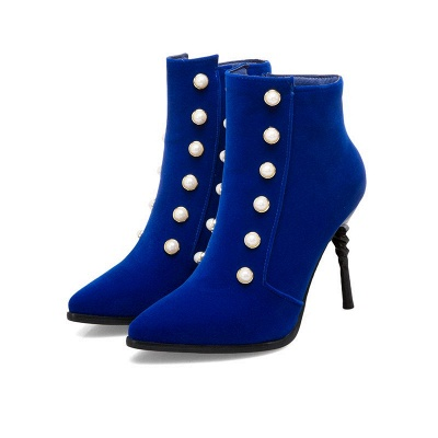Suede Daily Stiletto Heel Pointed Toe Zipper Boots_2
