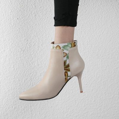 Zipper Daily Pointed Toe Elegant Stiletto Heel Boots_6