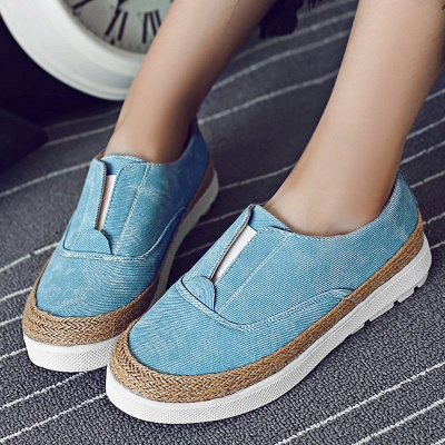 Summer Casual Round Toe Denim Wedge Loafers_2