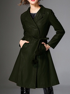 Long Sleeve Leather Work Casual Coat_2