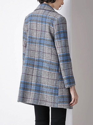 Blue Checkered/Plaid Work Buttoned Pockets Coat_3