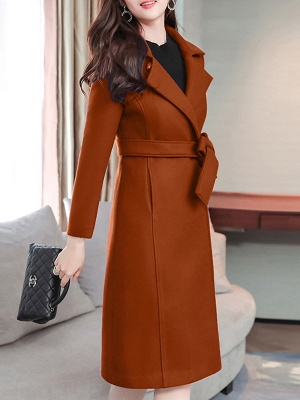Casual Pockets Long Sleeve Lapel Coat_1